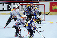 1996: Goalie Rob Laurie  in action during a Roller Hockey International RHI indoor inline hockey game.  Original image scan from negative, print or  transparency.  Image is available for personal or editorial use only.