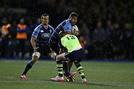 Nick Williams of Cardiff Blues runs into Rory O'Loughlin of Leinster. Guinness Pro12 rugby match, Cardiff Blues v Leinster at the Cardiff Arms Park in Cardiff, South Wales on Saturday 1st October 2016.<br /> pic by Andrew Orchard, Andrew Orchard sports photography.
