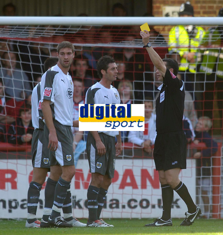 Photo: Daniel Hambury.<br />Brentford v Bristol City. Coca Cola League 1. 07/10/2006.<br />Bristol City's Jamie McCombe is booked for the foul which conceded the penalty.