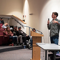 """John Copely, 15, a GMCS student gives a speech about nuclear waste storage at the """"Limb, Life and Bread on Mining in New Mexico Exhibit,"""" Wednesday, Oct. 17, 2018 at the University of New Mexico-Gallup."""