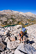 Backpacker in Little Lakes Valley, John Muir Wilderness, Sierra Nevada Mountains, California