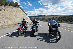 """Dan Kraft riding his 1934 Harley-Davidson VL beside his son Robb Kraft on his 1936 Harley-Davidson VLH 80"""" and Doug Feinsod on his 1920 Henderson Deluxe during stage 11 (289 miles) of the Motorcycle Cannonball Cross-Country Endurance Run, which on this day ran from Grand Junction, CO to Springville, UT., USA. Tuesday, September 16, 2014.  Photography ©2014 Michael Lichter."""