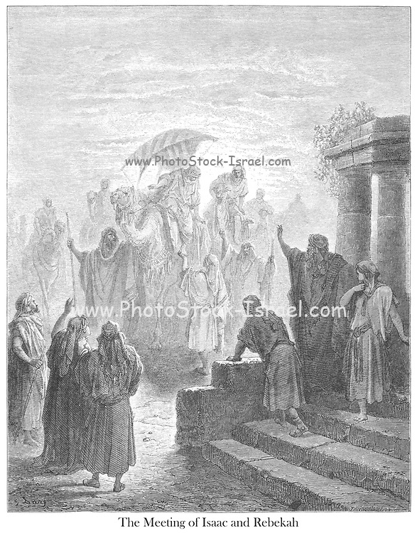 The Meeting of Isaac and Rebekah Genesis 24:65-67 From the book 'Bible Gallery' Illustrated by Gustave Dore with Memoir of Doré and Descriptive Letter-press by Talbot W. Chambers D.D. Published by Cassell & Company Limited in London and simultaneously by Mame in Tours, France in 1866