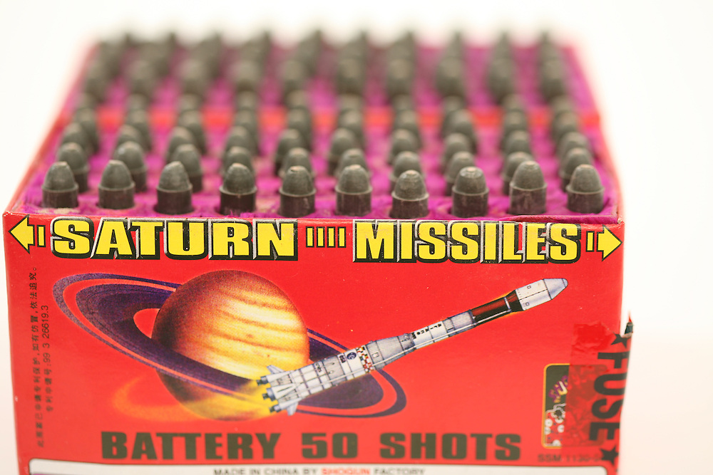 WILMINGTON, NC MAY 09 - Fireworks. Studio portraits of firework artwork and details. Shogun - Missiles to Saturn.