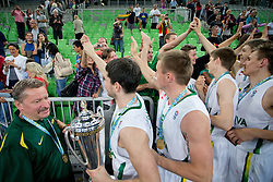 Fan of Lithuania and the players during ceremony after Lithuania won and become European Champions U-20 after basketball match between National teams of Lithuania and France in Final match of U20 Men European Championship Slovenia 2012, on July 22, 2012 in SRC Stozice, Ljubljana, Slovenia. Lithuania defeated France 50:49. (Photo by Matic Klansek Velej / Sportida.com)