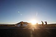 Thomas van Schaik wordt gevangen op de eerste wedstrijdavond van de World Human Powered Speed Challenge. In de buurt van Battle Mountain, Nevada, strijden van 10 tot en met 15 september 2012 verschillende teams om het wereldrecord fietsen tijdens de World Human Powered Speed Challenge. Het huidige record is 133 km/h.<br /> <br /> The Cygnus with Thomas van Schaik is caught at the finish. Near Battle Mountain, Nevada, several teams are trying to set a new world record cycling at the World Human Powered Vehicle Speed Challenge from Sept. 10th till Sept. 15th. The current record is 133 km/h.