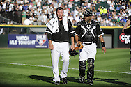 CHICAGO - JUNE 26:  Freddie Garcia #34 walks in from the bullpen with catcher Ramon Castro #27 of the Chicago White Sox prior to the game against the Chicago Cubs on June 26, 2010 at U.S. Cellular Field in Chicago, Illinois.  The White Sox defeated the Cubs 3-2.  (Photo by Ron Vesely)