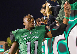 Oct 9, 2015; Huntington, WV, USA; Marshall Thundering Herd defensive back Rodney Allen celebrates beating Southern Miss Golden Eagles at the end of the game at Joan C. Edwards Stadium. Marshall won the game 31-10. Mandatory Credit: Ben Queen-USA TODAY Sports