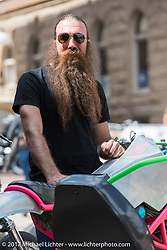 Stefan Hertel of Revival Cycles before the Legends Ride on Main Street in Deadwood during the annual Sturgis Black Hills Motorcycle Rally. Deadwood, SD, USA. Monday August 7, 2017.  Photography ©2017 Michael Lichter.