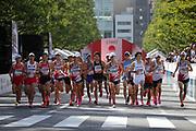 The start of the men's race during the Marathon Grand Championship, Sunday Sept. 15 2019, in Tokyo. From left: Kentaro Nakamoto, Shogo Nakamura,  Ryo Kiname, Kensuke Horio, Taku Fujimoto, Ryo Hashimoto, Yuma Hattori,Yuta Shitara, Yuki Sato and Suguru Osako. Nakamura won in 2:11:28, followed by Hattori in 2:11:36 and Osako in third in 2:11:41 (Agence SHOT/Image of Sport)