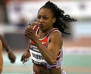 Gail Devers wins the women's 60-meter hurdles in 7.81 seconds in the USA Track & Field Indoor Championships at Reggie Lewis Track & Athletic Center at Roxbury Community College on Saturday, Feb. 28, 2004 in Roxbury Crossing, Mass. Devers also wins the 60 meters in 7.12 seconds to become the first American to win the 60 and 60 hurdles in the same year.