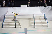 Jhulia Rayssa Mendes Leal, Brazil, during the women's final of the Street League Skateboarding World Tour Event at Queen Elizabeth Olympic Park on 26th May 2019 in London in the United Kingdom. Jhulia Rayssa Mendes Leal is an 11 year old professional street skateboarder from Brazil.