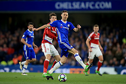 8 May 2017 - Premier League - Chelsea v Middlesbrough - Marten de Roon of Middlesbrough in action with Nemanja Matic of Chelsea - Photo: Marc Atkins / Offside.