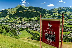 THEMENBILD - Der Blick über die Hausbergkante in die Kompression, der Einfahrt in die Traverse und dem Zielgelände mit dem Kitzbüheler Horn und der Stadt Kitzbühel im Hintergrund, aufgenommen am 26. Juni 2017, Kitzbühel, Österreich // The view over the Hausbergkante into the compression, the entrance into the traverse and the target area with the Kitzbüheler Horn and the town of Kitzbuehel in the background at the Streif, Kitzbühel, Austria on 2017/06/26. EXPA Pictures © 2017, PhotoCredit: EXPA/ Stefan Adelsberger