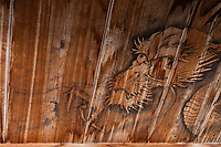 """Tairyuji Dragon Ceiling Fresco - Tairyuji Temple is the 21sttemple on the 88 temple pilgrimage in Shikoku and is famous as anansho - in other words a """"difficult to reach temple.""""  Set at 610 meters above sea level and involves a steep descent followed by a steep ascent. Most visitors take the ropeway which opened in 1992. Tairyuji is special and unusual among the pilgrimage temples in that whereas all the temples on the pilgrimageclaim to have some connection with Kobo Daishi almost all of them have no historical documentation confirming it. Tairyuji does - Kobo Daishi himself wrote about the time he spent on this mountain at the age of 15. He spent 50 days here reciting a mantra one million times in an attempt to reach enlightenment. Though he didn't succeed, he continued his ascetic practices further south in a cave on Cape Muroto."""