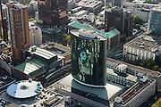 Nederland, Zuid-Holland, Rotterdam, 23-10-2013; binnenstad Rotterdam, met in groen glas Beurs World Trade Center aan de Coolsingel. Naast de Beurs een deel van de Koopgoot.<br /> Innercity Rotterdam with WTC.<br /> luchtfoto (toeslag op standard tarieven);<br /> aerial photo (additional fee required);<br /> copyright foto/photo Siebe Swart