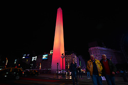 August 18, 2017 - Buenos Aires, Argentina - Obelisk of Buenos Aires is illuminated in the colors of the Spanish flag to pay tribute to the victims of the attacks in Cambrils and Barcelona. (Credit Image: © Anton Velikzhanin via ZUMA Wire)