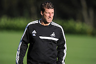 Swansea city manager Michael Laudrup.  Swansea city FC training at their training base in Landore  in Swansea, South Wales on Wed 23rd Oct 2013. The team are training ahead of the UEFA Europa league match v FC Kuban Krasnodar . pic by Andrew Orchard, Andrew Orchard sports photography,