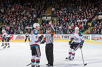 KELOWNA, CANADA - FEBRUARY 13: Referee Clayton Hall makes a call on February 13, 2017 at Prospera Place in Kelowna, British Columbia, Canada.  (Photo by Marissa Baecker/Shoot the Breeze)  *** Local Caption ***