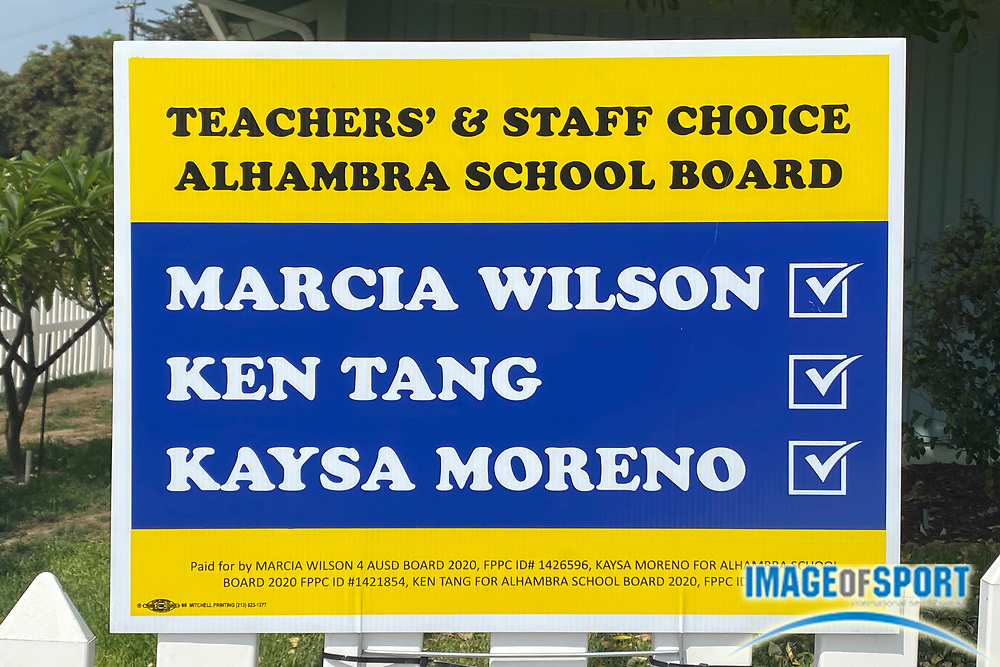 An Alhambra School Board election sign promoting candidates Marcia Wilson, Ken Tang and Kaysa Moreno at a residence, Thursday, Sept. 17, 2020, in Monterey Park, Calif.