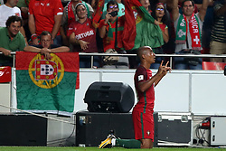 October 10, 2017 - Lisbon, Portugal - Portugal's midfielder Joao Mario celebrates after scoring a goal during the 2018 FIFA World Cup qualifying football match between Portugal and Switzerland at the Luz stadium in Lisbon, Portugal on October 10, 2017. Photo: Pedro Fiuza  (Credit Image: © Pedro Fiuza/NurPhoto via ZUMA Press)