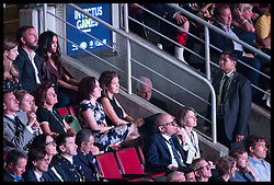 September 24, 2017 - Toronto, Canada - Image licensed to i-Images Picture Agency. 23/09/2017. Toronto, Canada. A security guard keeps watch as Meghan Markle sits in the crowd at the opening ceremony of  the Invictus Games in Toronto, Canada. Picture by Stephen Lock / i-Images (Credit Image: © Stephen Lock/i-Images via ZUMA Press)