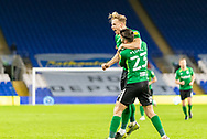 CELE Birmingham City's Marc Roberts (4) celebrates scoring the opening goal with his team mate Jon Toral (23) during the EFL Sky Bet Championship match between Cardiff City and Birmingham City at the Cardiff City Stadium, Cardiff, Wales on 16 December 2020.