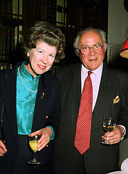 SIR BERNARD & LADY FEILDEN, he is the architect, at a reception in London on 15th May 1997.LYI 25