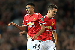 20th September 2017 - Carabao Cup (3rd Round) - Manchester United v Burton Albion - Jesse Lingard of Man Utd (L) celebrates with teammate Ander Herrera after scoring their 2nd goal - Photo: Simon Stacpoole / Offside.