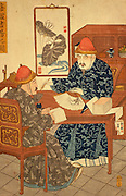 CHICAGO, MUSEUMS and ARTISTS Chinese Art Prints showing Chinese scholars in the 19th century from Art Institute of Chicago collection