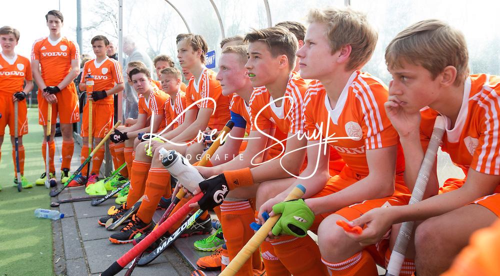 AMSTELVEEN - Oefenwedstrijd tussen het Nederlands Team Jongens B tegen Bloemendaal A1. COPYRIGHT KOEN SUYK