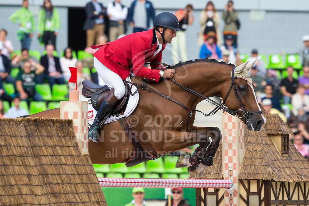 Marek Lewicki, (POL), Abige J - Team & Individual Competition Jumping Speed - Alltech FEI World Equestrian Games™ 2014 - Normandy, France.<br /> © Hippo Foto Team - Leanjo De Koster<br /> 02-09-14