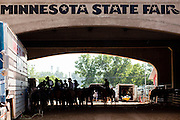 "01 SEPTEMBER 2011 - ST. PAUL, MN:  High school rodeo participants wait to enter the arena at the Minnesota State Fair. The Minnesota State Fair is one of the largest state fairs in the United States. It's called ""the Great Minnesota Get Together"" and includes numerous agricultural exhibits, a vast midway with rides and games, horse shows and rodeos. Nearly two million people a year visit the fair, which is located in St. Paul.     PHOTO BY JACK KURTZ"