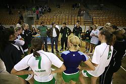 Players of Olimpija, Jure Jankovic, Franjo Bobinac and Robert Begus  after  handball game between women team RK Olimpija vs ZRK Brezice at 1st round of National Championship, on September 13, 2008, in Arena Tivoli, Ljubljana, Slovenija. Olimpija won 41:17. (Photo by Vid Ponikvar / Sportal Images)