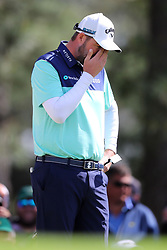 April 8, 2018 - Augusta, GA, USA - Marc Leishman reacts to his missed putt which gave him a bogey on seven during the final round of the Masters at Augusta National Golf Club on Sunday, April 8, 2018, in Augusta, Ga. (Credit Image: © Curtis Compton/TNS via ZUMA Wire)