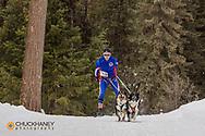 The Flathead Classic dog sled race with ski joring near Olney, Montana, USA