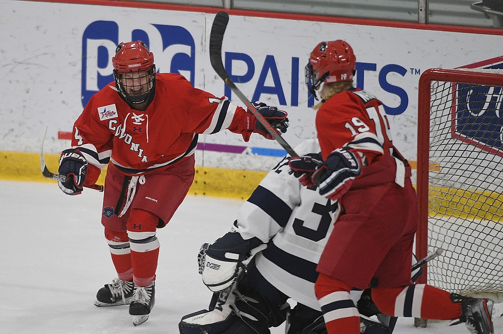 PITTSBURGH, PA - NOVEMBER 1: Courtney Kollman #14 of the Robert Morris Colonials reacts after scoring her first NCAA goal in the second period during the game against the Penn State Nittany Lions at Colonials Arena on November 1, 2019 in Pittsburgh, Pennsylvania. (Photo by Justin Berl/RMU Athletics)