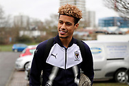 AFC Wimbledon striker Lyle Taylor (33) arriving  during the EFL Sky Bet League 1 match between AFC Wimbledon and Northampton Town at the Cherry Red Records Stadium, Kingston, England on 10 February 2018. Picture by Matthew Redman.