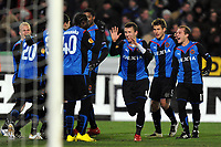 BRUGGE 16/12/2009  SPORT / FOOTBALL / VOETBAL / CLUB BRUGGE BRUGES KV - FC TOULOUSE  / BUT JOIE VREUGDE IVAN PERISIC<br />  / LIGUE EUROPEENNE - EUROPA LEAGUE UEFA GROUP J<br />  / PICTURE BY VINCENT KALUT - GEERT VANDEN WIJNGAERT / PHOTO NEWS / DPPI