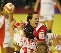 03.12.2008 Ohrid (FYR Macedonia)<br />Norway-Spain European women's handball championship<br />Lunde Kritine(r) Norway and Pinedo Elisabeth(R) Spain <br />Foto:Aleksandar Djorovic