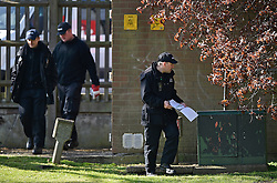 © Licensed to London News Pictures. 20/04/2016. A police security team sweeps the area before QUEEN ELIZABETH II officially opens the new bandstand at Alexandra Gardens, in Windsor on the eve of her 90th birthday. Photo credit: Hannah McKay/LNP