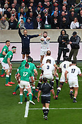 Luke Cowan-Dickie of England throws the ball into a line-out during the Six Nations international rugby union match between England and Ireland at Twickenham stadium, Sunday, Feb. 23, 2020, in London, United Kingdom.  England won the match 24-12. (Mitchell Gunn/ESPA-Images-Image of Sport)