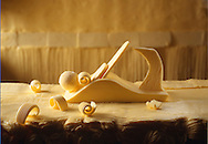 Butter sculpture of a wood plane - butter curler