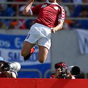 Denmark's Dennis Rommedahl celebrates scoring Denmark's first goal against France