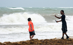 Am man takes a souvenir photo along the ocean as winds pick up in anticipation for Hurricane Irma Saturday, September 9, 2017 in Fort Lauderdale, FL, USA. Photo by Paul Chiasson/CP/ABACAPRESS.COM