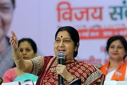 May 3, 2019 - Jaipur, Rajasthan, India - Union Minister Sushma Swaraj addressing ' Vijay Sankalp Sanwad' ahead the Lok Sabha Polls , in Jaipur,Rajasthan,India on May 3, 2019. (Credit Image: © Vishal Bhatnagar/NurPhoto via ZUMA Press)