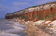 AE2KR3 Cliffs of striped sedimentary rock at Hunstanton Norfolk England
