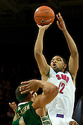 DALLAS, TX - JANUARY 15: Nick Russell #12 of the SMU Mustangs shoots the ball over the South Florida Bulls on January 15, 2014 at Moody Coliseum in Dallas, Texas.  (Photo by Cooper Neill/Getty Images) *** Local Caption *** Nick Russell