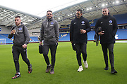 Brighton & Hove Albion forward Aaron Connolly, Brighton & Hove Albion midfielder Dale Stephens, Brighton & Hove Albion defender Lewis Dunk and Brighton & Hove Albion defender Adam Webster arrive ahead of the Premier League match between Brighton and Hove Albion and Crystal Palace at the American Express Community Stadium, Brighton and Hove, England on 29 February 2020.