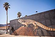 Desert lizard painted mural on a building in Twentynine Palms, California.